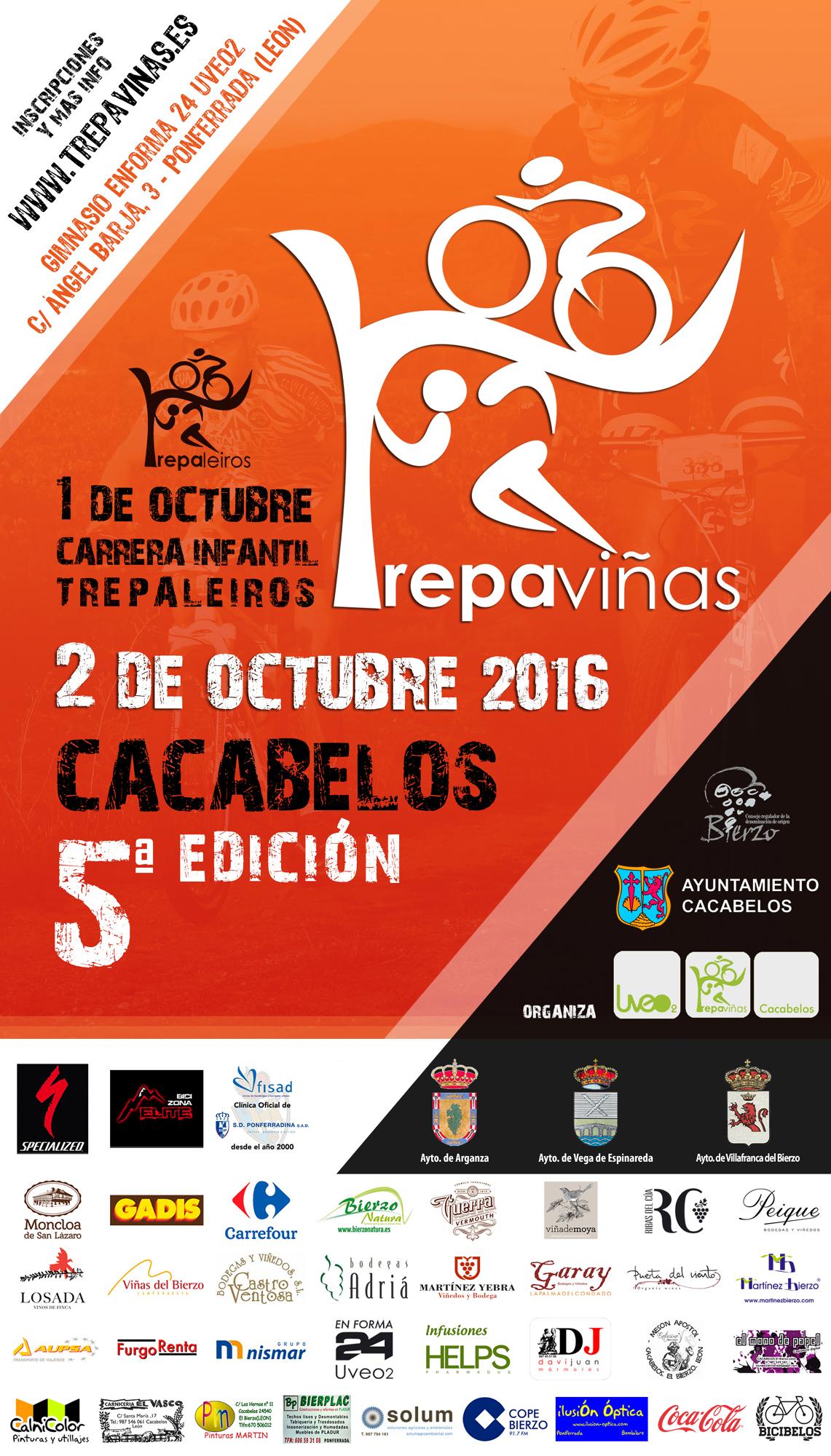 Cartel Trepaviñas - Cacabelos. Quinta edición 1 y 2 de octubre de 2016